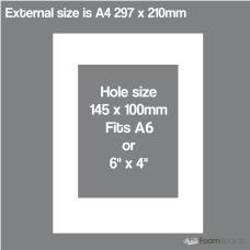 A4 White Mat Board Kit A6 Hole